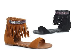 Tribal Ankle Fringe Flat Sandals in Brown or Black