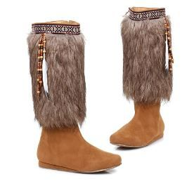 High Quality Native American Women Fur Top Boots