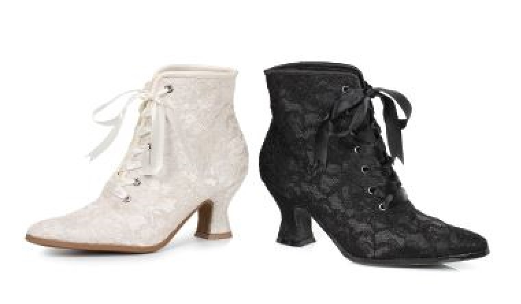 Women's Chic Victorian Lace Black or White Ankle Boots