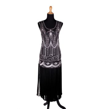 Fabulous Flapper Black and Silver Beaded Dress