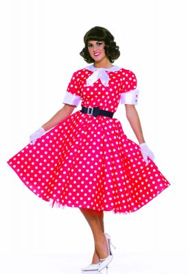 50'S Red and White Polka Dot Short Sleeve Housewife Costume Dress