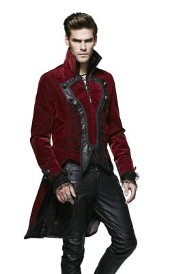 Men's Gothic Dark Rose Velvet Coat