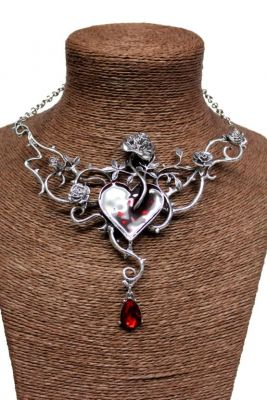 Victorian Gothic Heart and Rose Vine Necklace