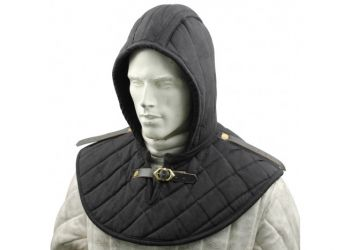 Black Cotton Padded Collar Armor And Cap