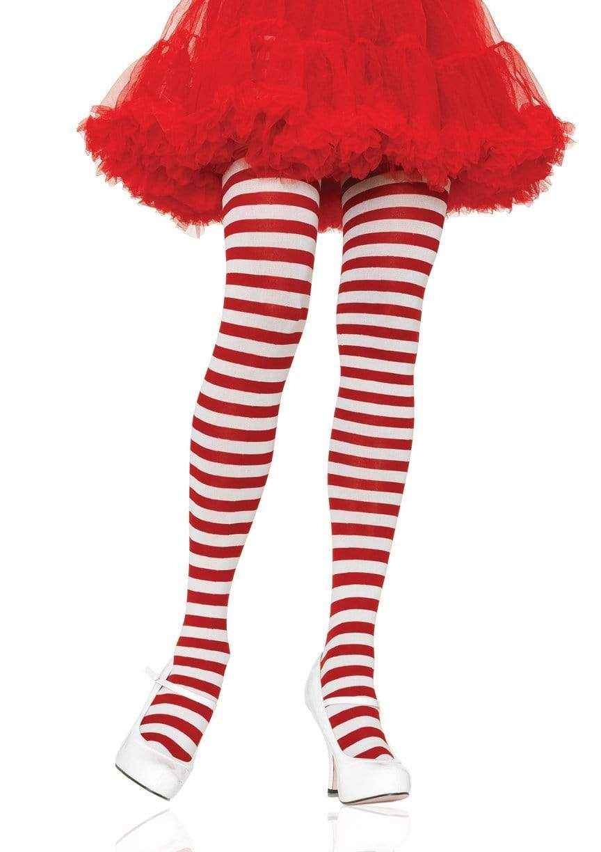 Fun Red and White Striped Tights