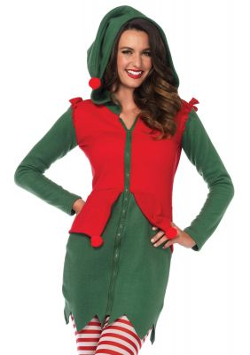 Women's Cozy Red and Green Christmas Elf