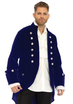 Men's Magnificent Long Blue Velvet Costume Coat