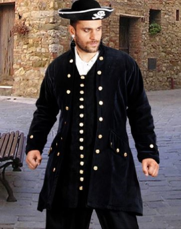 Dramatic Black Costume Pirate Coat