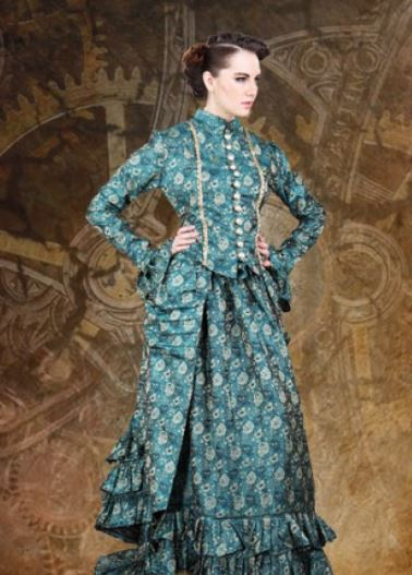 Ladies Blue Dress Victorian Steampunk Costume