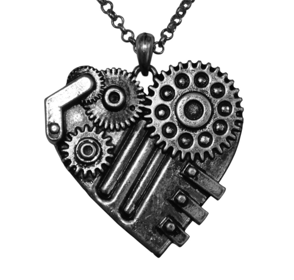 Handsome Steampunk 3d Mechanical Dark Silver-Tone Heart Necklace