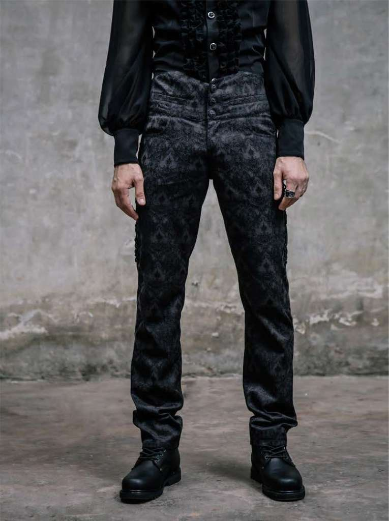 Men's High Waisted Brocade Gothic Trousers