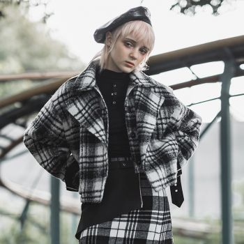 Women's Turn-down Collar Black&White Plaid Woolen Jacket