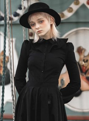 Women's Black Gothic Flounced Collar Flare Sleeved Fitted Shirt