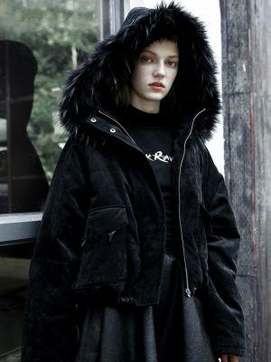Women's Punk Black Warm Fluffy Hooded Chamois Coat