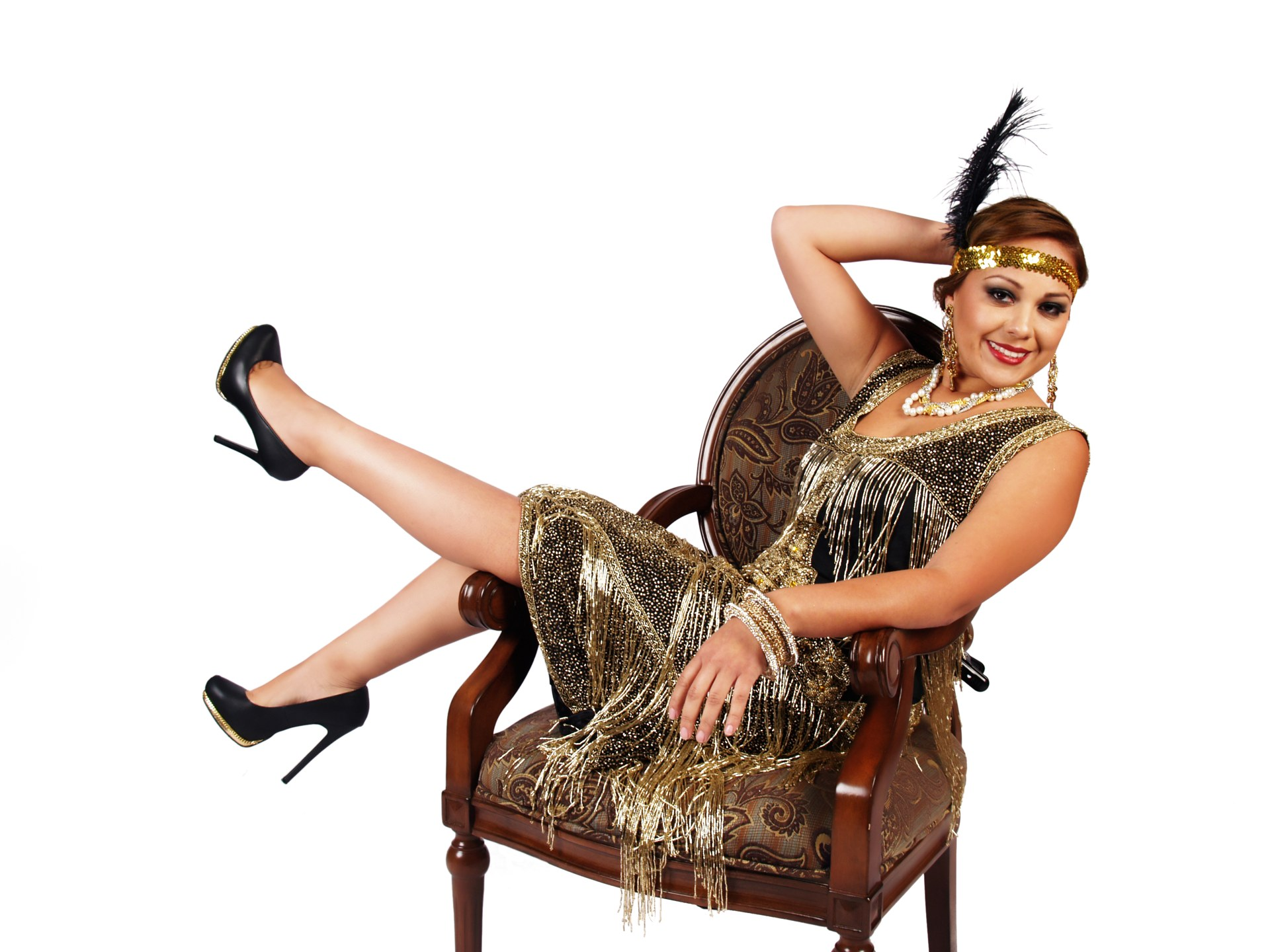 Delectable Black and Gold Fringed Flapper Dress