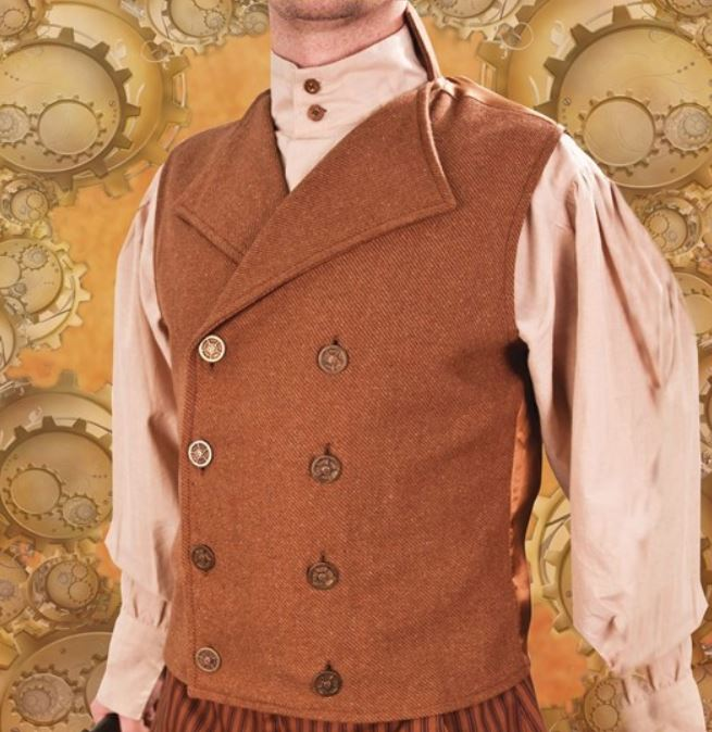 Men's Steampunk Victorian Inspired Engineer Double-breasted Tan Vest