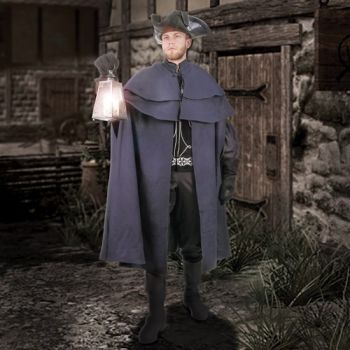 Men's Beautiful Navy Blue Wool Colonial Traveler's Cloak