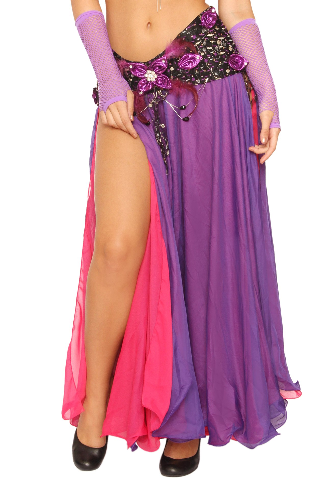 Belly Dancer Two Color Rayon Skirt with Flairs