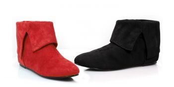Red & Black Microfiber Short Boots For Women