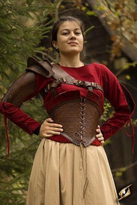 Medieval Women's Brown Leather Underbust Corset