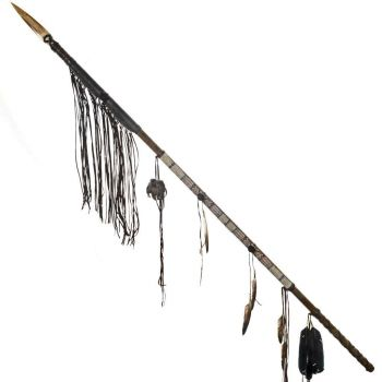 Beautiful Indian Medicine Bag Warrior Spear Feathered and Beaded Lance