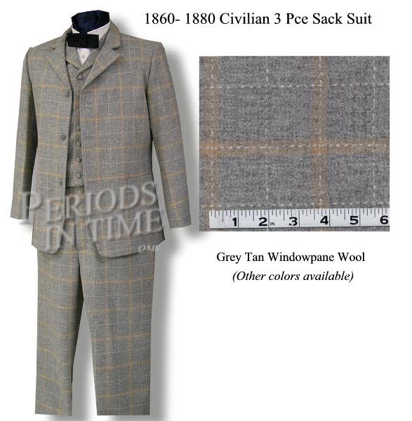 19th Century 3 Piece Sack Suit 19th Century Everyman Suit