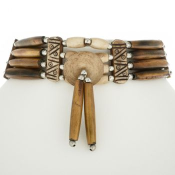 Cherokee Indian Style Bone Choker With Medallion