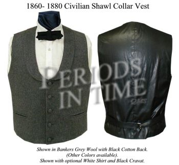 Men's Civil War ERA Shawl Collar Vest