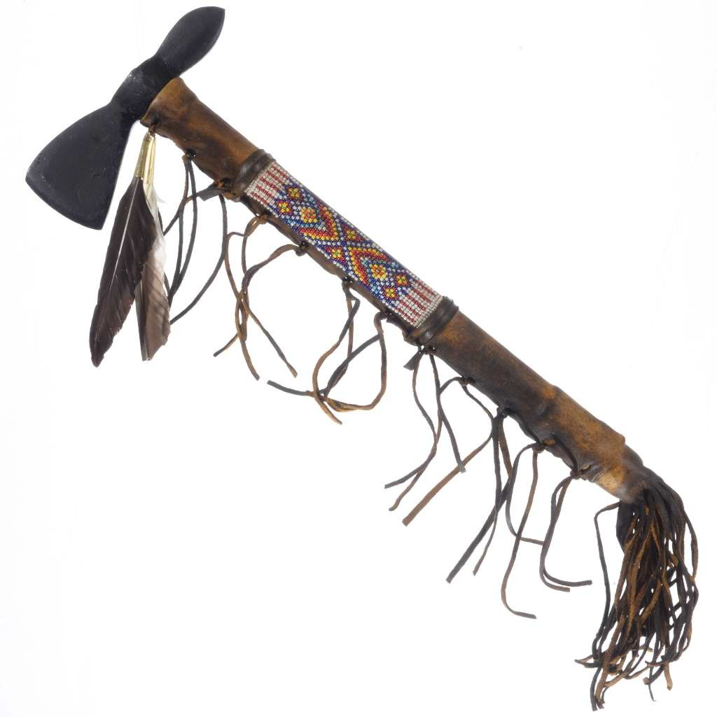 Old Indian Style Tomahawk Beaded Buckskin