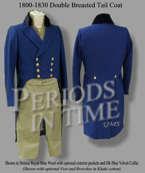 1800-1830 Civilian Double Breasted Tailcoat