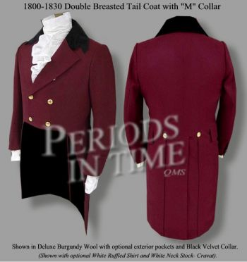 Authentic Regency Tailcoat - Double Breasted w/Rolling M Collar