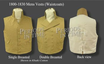 1800 to 1830 Civilian Federal/ Regency Era Vests