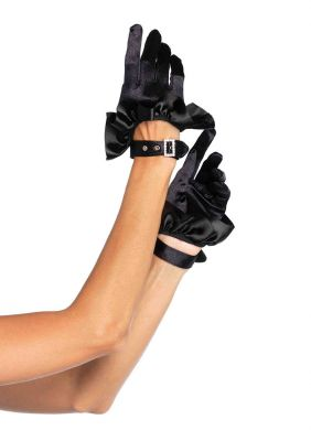 Women's Cropped Satin Ruffle Gloves