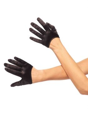 Women's Cropped Satin Gloves in Red, Black or White