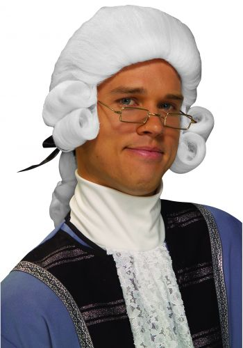 Men's White Colonial Costume Wig