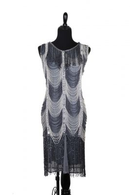 Stylish Grey and Silver Fringe Flapper Costume Dress