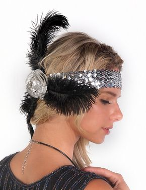 Flapper Headband Rose and Feather, Gold