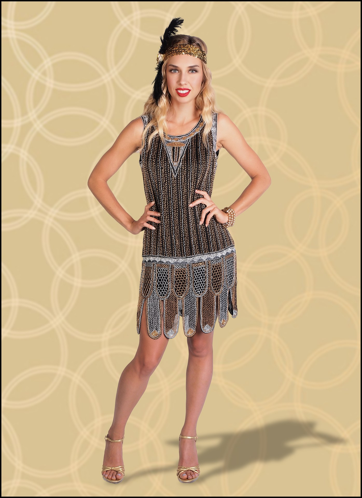 Black Flapper Dress Covered in Copper and Gold Sequins with Beads