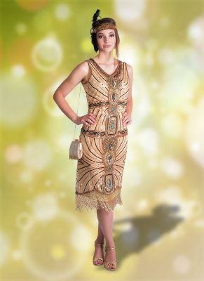 Wonderful Peach Multi-Sequin Flapper Dress