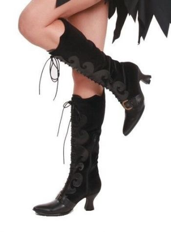 Women's Lace-Up Witchy Knee Boots In Either Black Or Purple