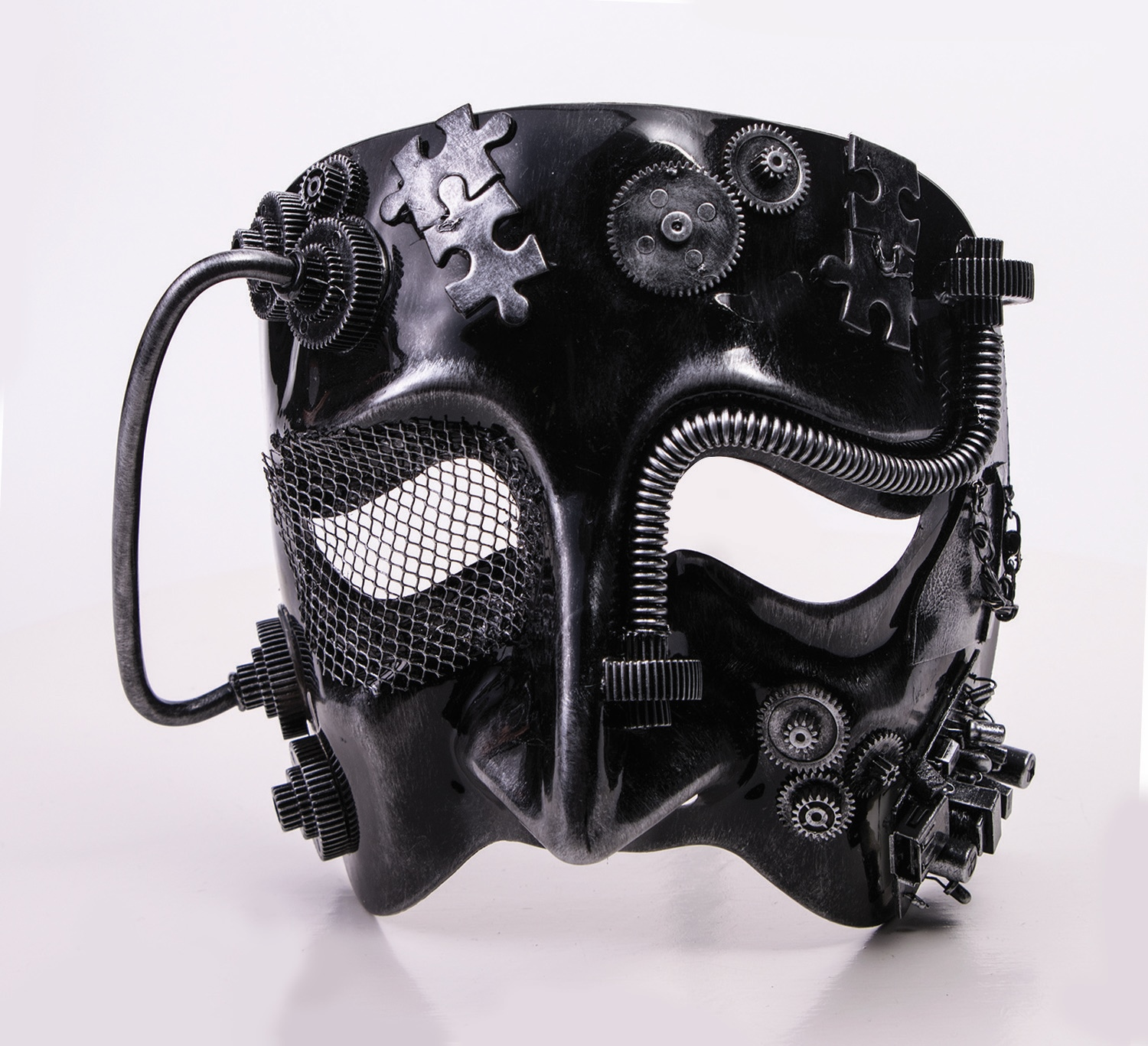 Victorian Industrial Steampunk Black Tragedy Half Mask
