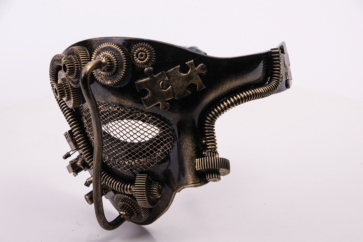 Victorian Industrial Steampunk Black & Gold Half Mask