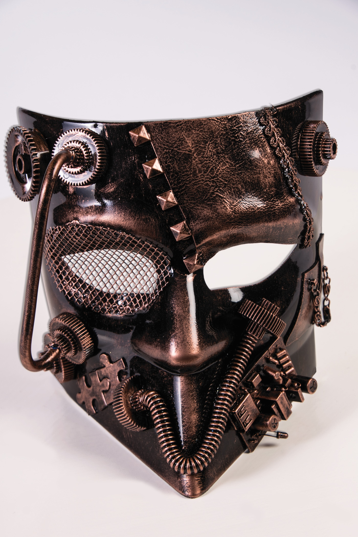 Fantastic Steampunk Jester Costume Full Mask in Bronze