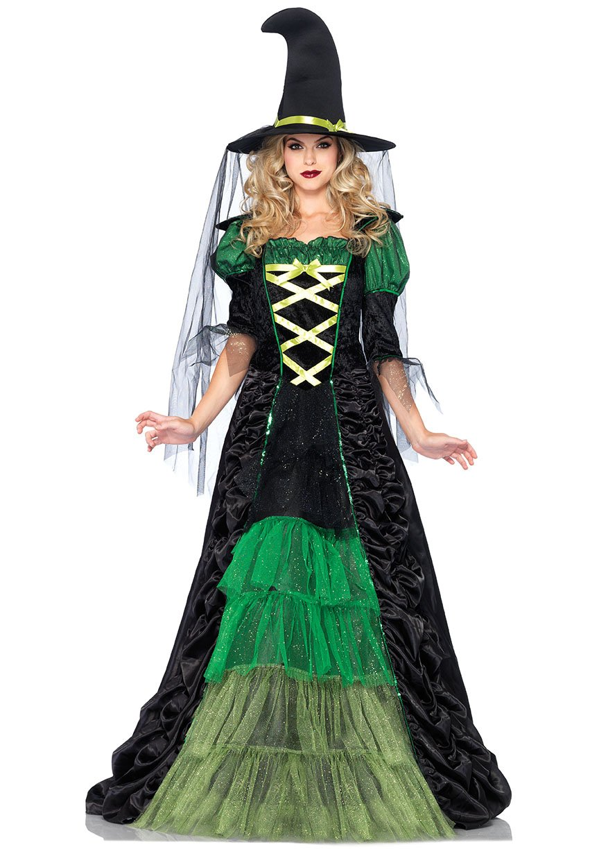 womenLovely & Magical Green and Black Witches Costume for Women