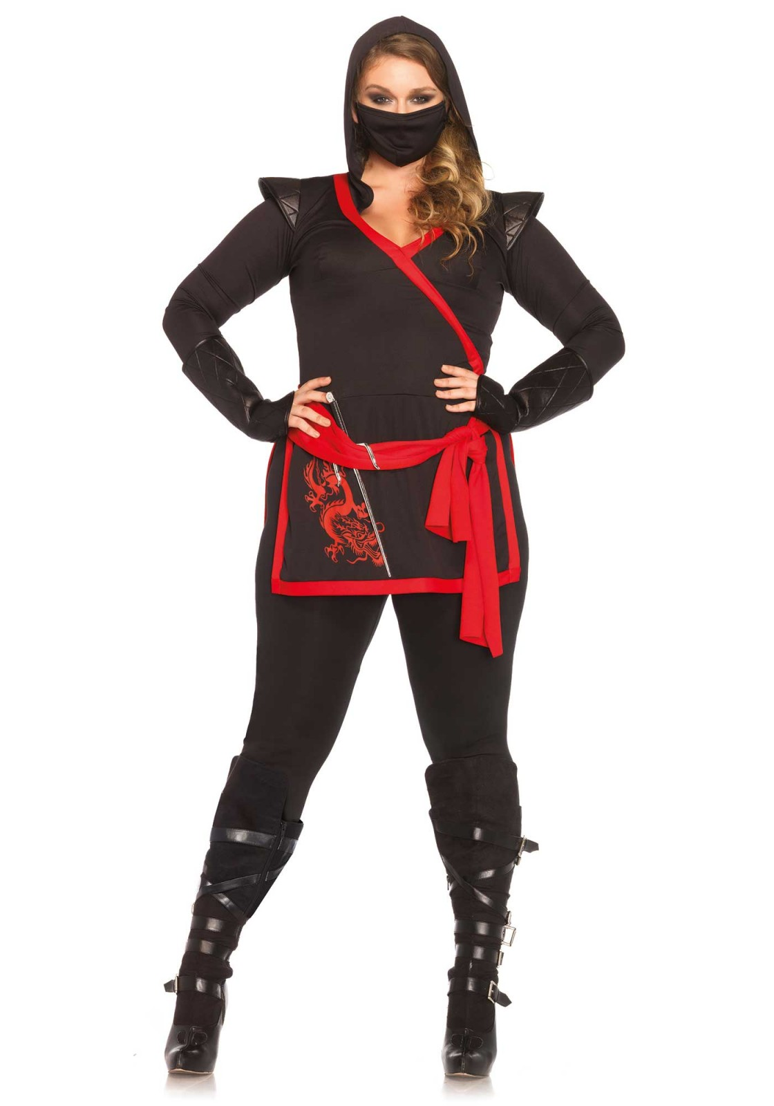 Plus Size Women's 4-piece Red & Black Ninja Costume