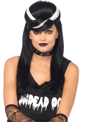 Women's Black and White Streaked Long Costume Wig