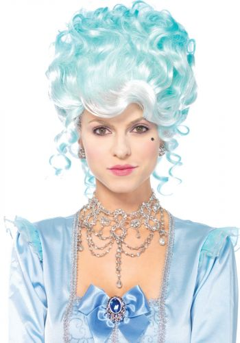 Lady's Blue Powdered 17th Century Style Wig