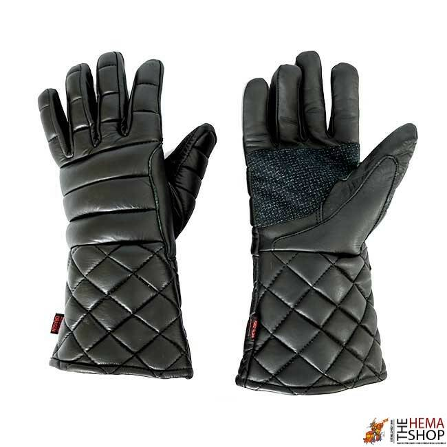 Padded Black Leather Fencing Gloves