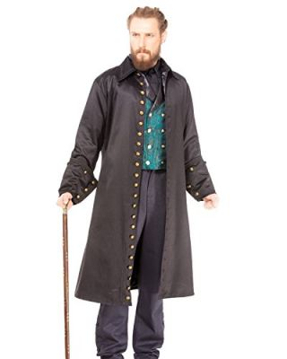 Men's Dramatic Black Vampire Steampunk Coat Costume
