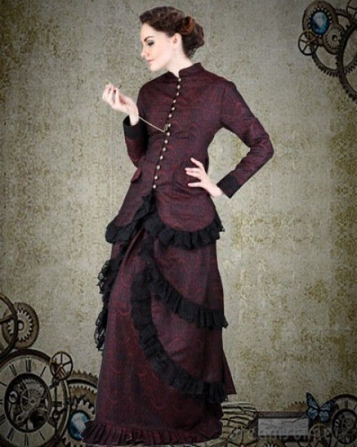 Enthralling Burgundy Brocade Steampunk Dress Costume